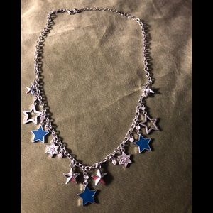 Silver and blue necklace with stars